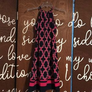 Crown and Ivy navy and Pink halter neck dress